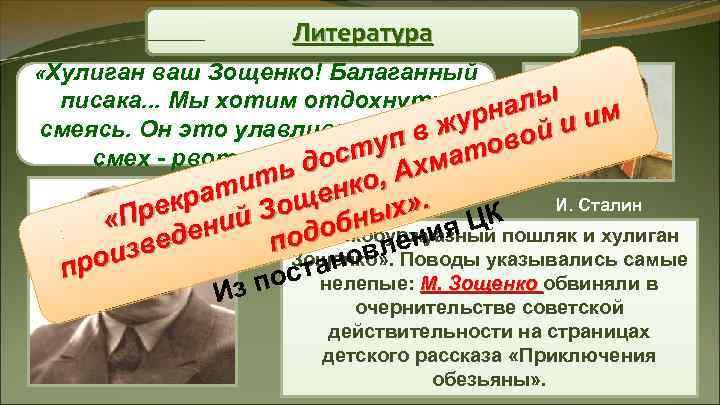 Литература «Хулиган ваш Зощенко! Балаганный писака. . . Мы хотим