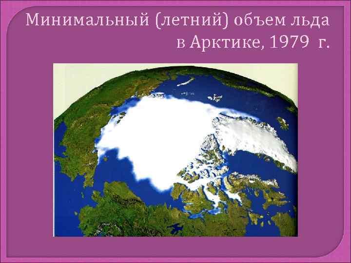 Минимальный (летний) объем льда    в Арктике, 1979 г.