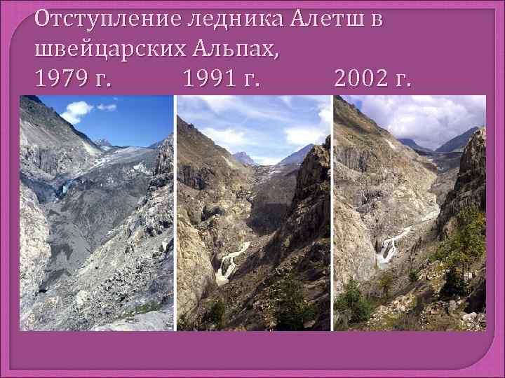 Отступление ледника Алетш в швейцарских Альпах, 1979 г. 1991 г. 2002 г.