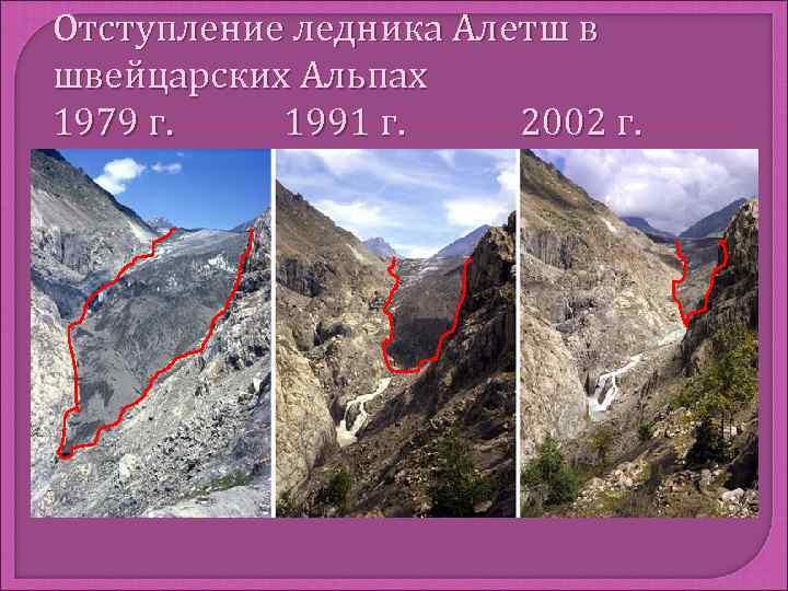 Отступление ледника Алетш в швейцарских Альпах 1979 г. 1991 г. 2002 г.