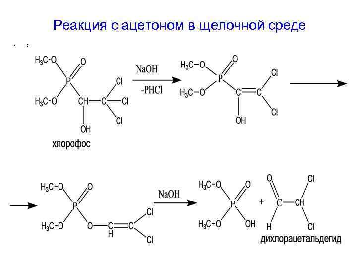 Реакция с ацетоном в щелочной среде •  1