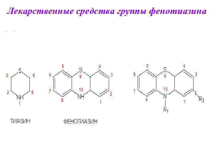 Лекарственные средства группы фенотиазина •  .