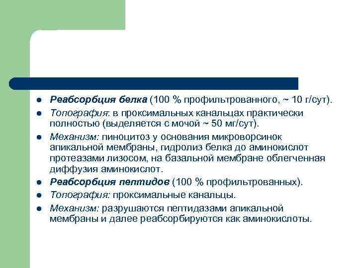 l  Реабсорбция белка (100 % профильтрованного, ~ 10 г/сут). l  Топография: в