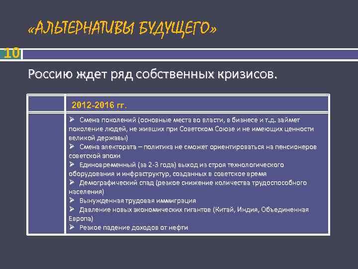 «АЛЬТЕРНАТИВЫ БУДУЩЕГО» 10 Россию ждет ряд собственных кризисов.   2012 -2016 гг.