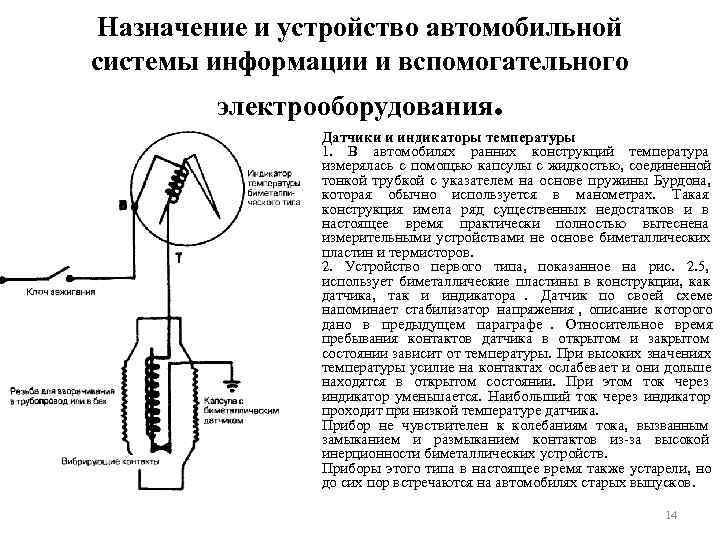 Назначение и устройство автомобильной системы информации и вспомогательного  электрооборудования.   Датчики