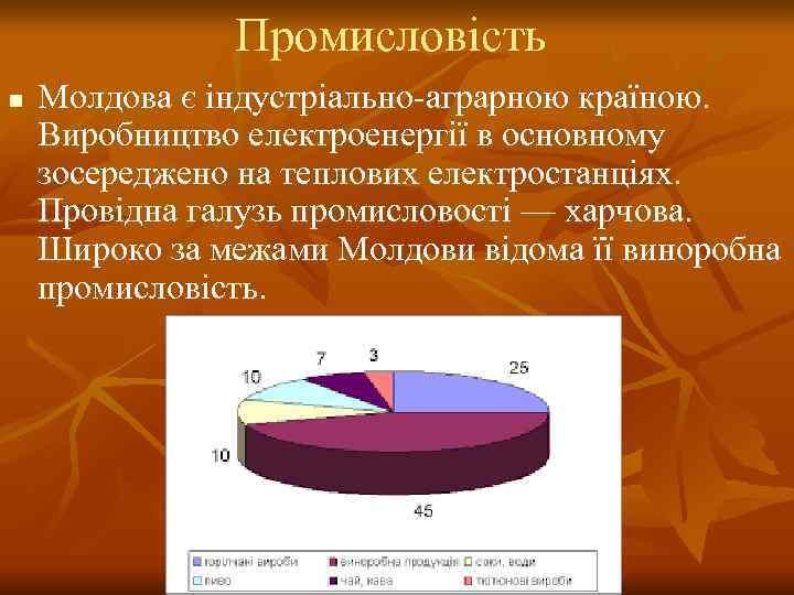 Промисловість n  Молдова є індустріально-аграрною країною.  Виробництво електроенергії