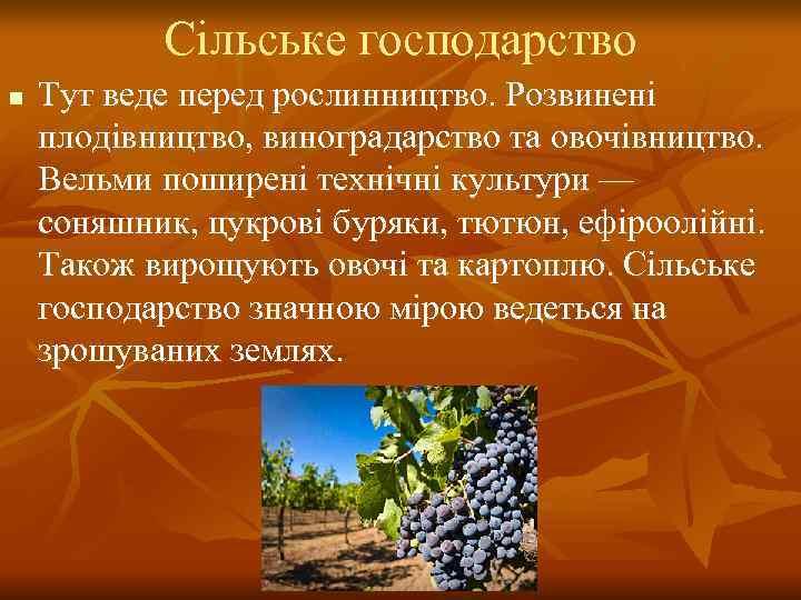 Сільське господарство n  Тут веде перед рослинництво. Розвинені плодівництво, виноградарство та