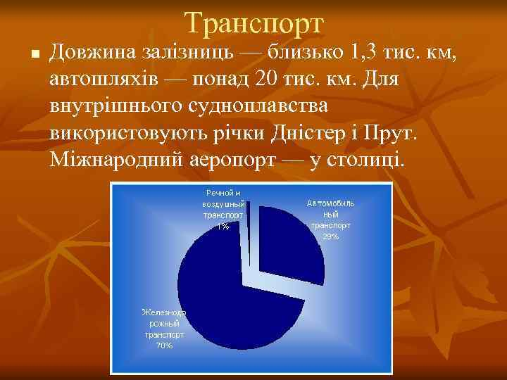 Транспорт n  Довжина залізниць — близько 1, 3 тис. км,