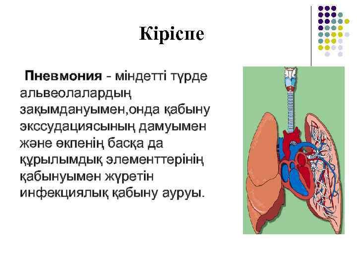Кіріспе  Пневмония - міндетті түрде альвеолалардың зақымдануымен, онда қабыну