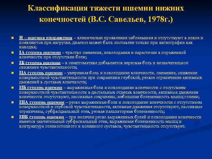 Классификация тяжести ишемии нижних   конечностей (В. С. Савельев, 1978 г.