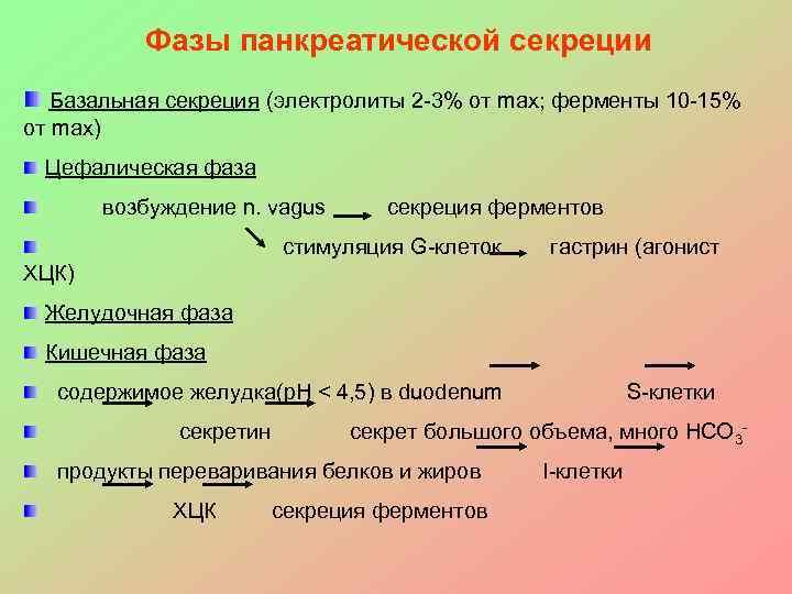 Фазы панкреатической секреции  Базальная секреция (электролиты 2 -3% от max;