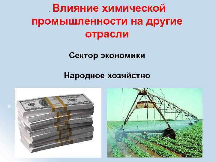 . Влияние  химической промышленности на другие  отрасли  Сектор экономики