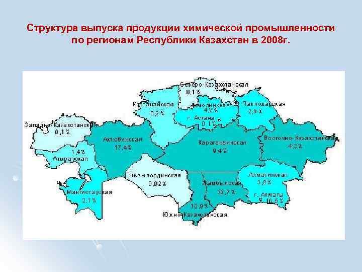 Структура выпуска продукции химической промышленности   по регионам Республики Казахстан в 2008 г.