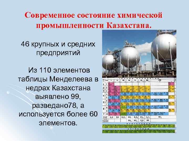 Современное состояние химической  промышленности Казахстана.  46 крупных и средних предприятий Из
