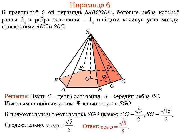 Пирамида 6 В правильной 6 - ой пирамиде SABCDEF ,