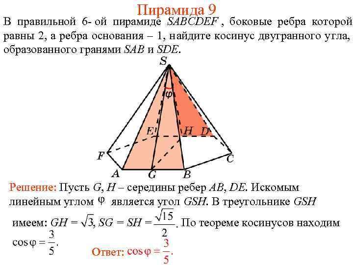 Пирамида 9 В правильной 6 - ой пирамиде SABCDEF
