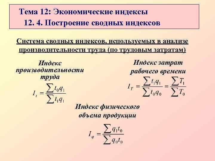 Тема 12: Экономические индексы 12. 4. Построение сводных индексов Система сводных индексов, используемых в