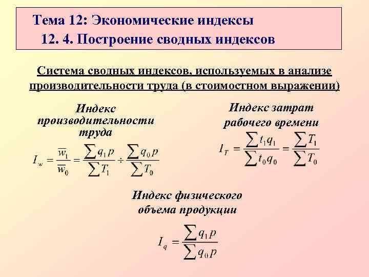 Тема 12: Экономические индексы 12. 4. Построение сводных индексов  Система сводных индексов, используемых