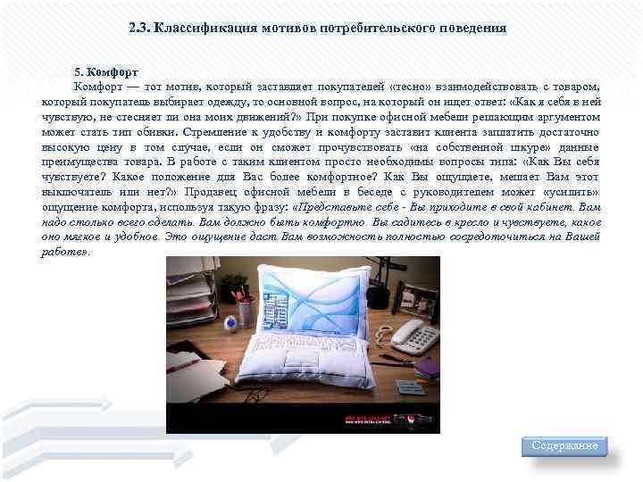 2. 3. Классификация мотивов потребительского поведения   5. Комфорт