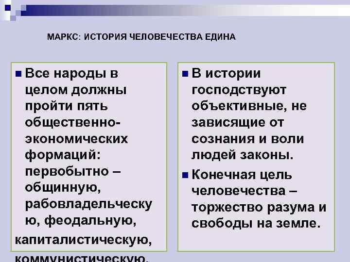 МАРКС: ИСТОРИЯ ЧЕЛОВЕЧЕСТВА ЕДИНА  n Всенароды в   n. В