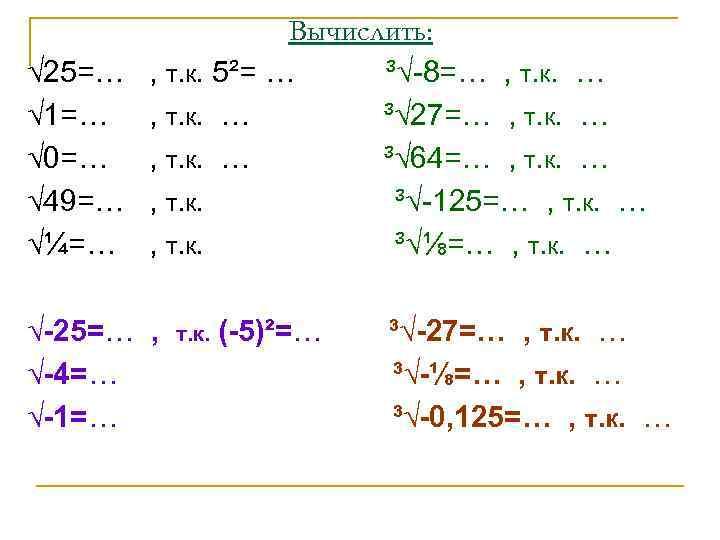 Вычислить: √ 25=… , т. к. 5²= … ³√-8=… , т.