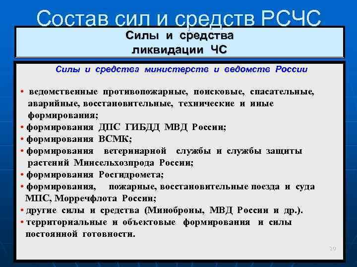 Состав сил и средств РСЧС     Силы и средства