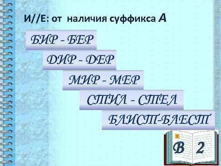 И//Е: от наличия суффикса А БИР - БЕР  ДИР - ДЕР  МИР