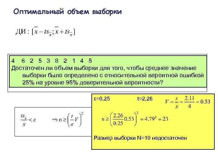 Оптимальный объем выборки 4  6  2  5  3  8