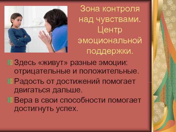 Зона контроля   над чувствами.     Центр