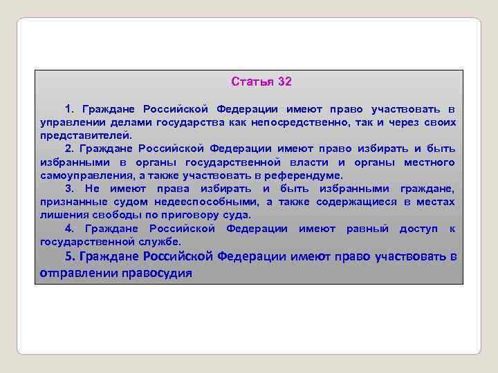 Статья 32 1. Граждане Российской Федерации имеют право