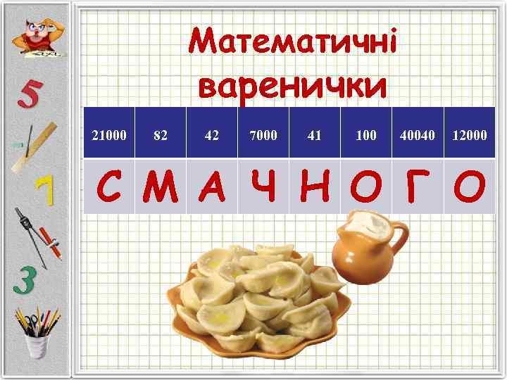 Математичні   варенички 21000  82  42  7000