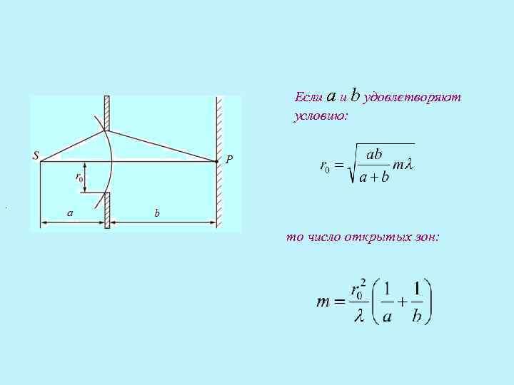 Если a и b удовлетворяют  условию: .  то число открытых зон: