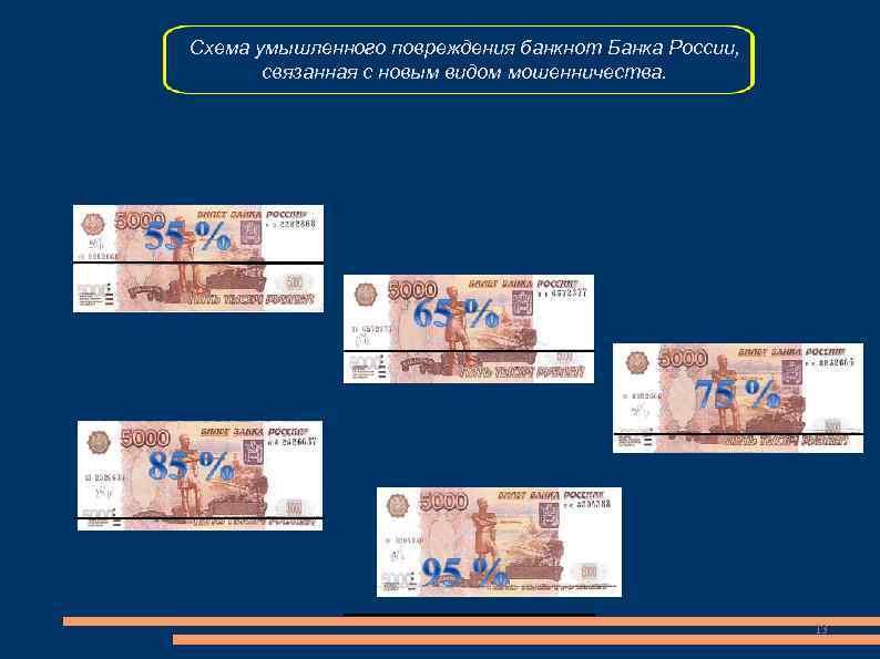 Схема умышленного повреждения банкнот Банка России,   связанная с новым видом мошенничества.
