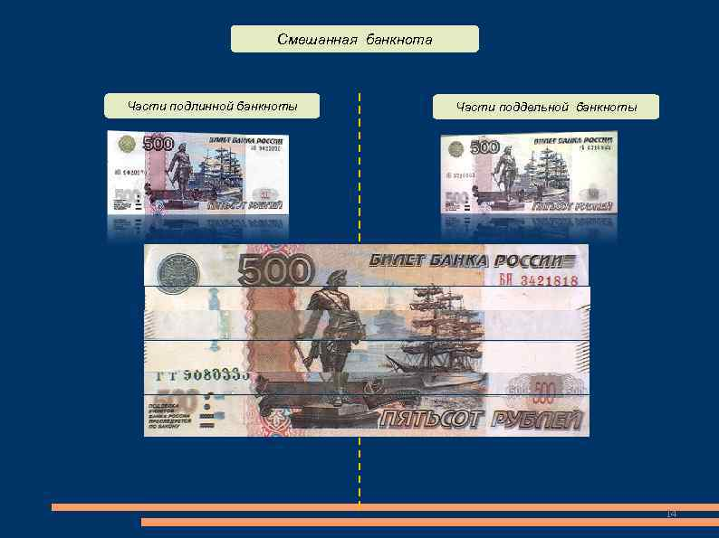 Смешанная банкнота  Части подлинной банкноты   Части