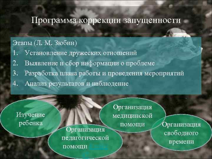 Программа коррекции запущенности Этапы (Л. М. Зюбин) 1. Установление дружеских отношений 2. Выявление
