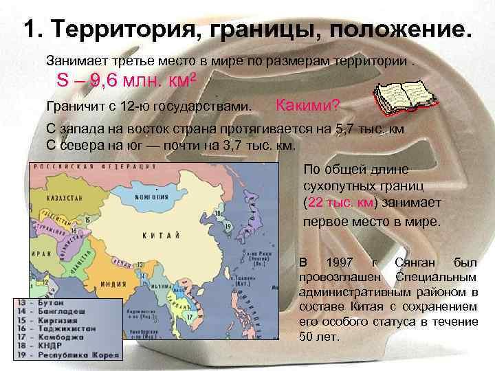 1. Территория, границы, положение.  Занимает третье место в мире по размерам территории.