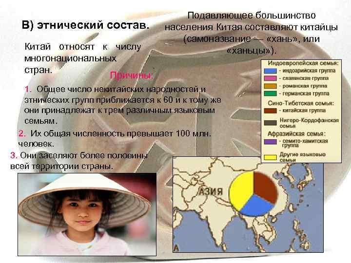 Подавляющее большинство  В) этнический состав.