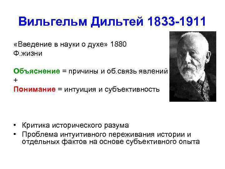 Вильгельм Дильтей 1833 -1911 «Введение в науки о духе» 1880 Ф. жизни Объяснение