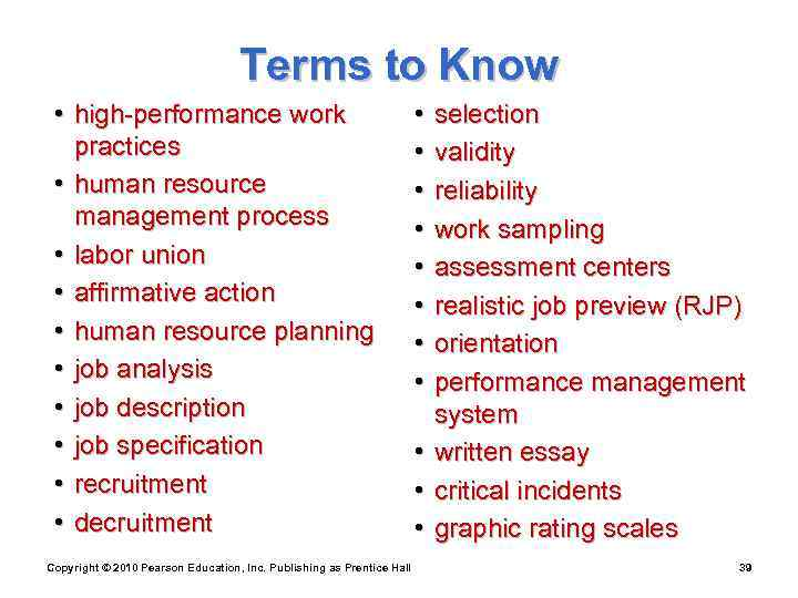 Terms to Know  • high-performance work
