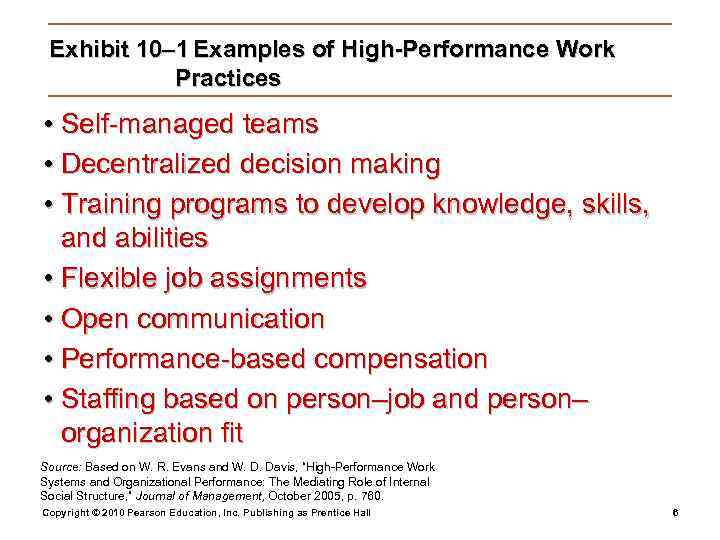 Exhibit 10– 1 Examples of High-Performance Work   Practices • Self-managed teams