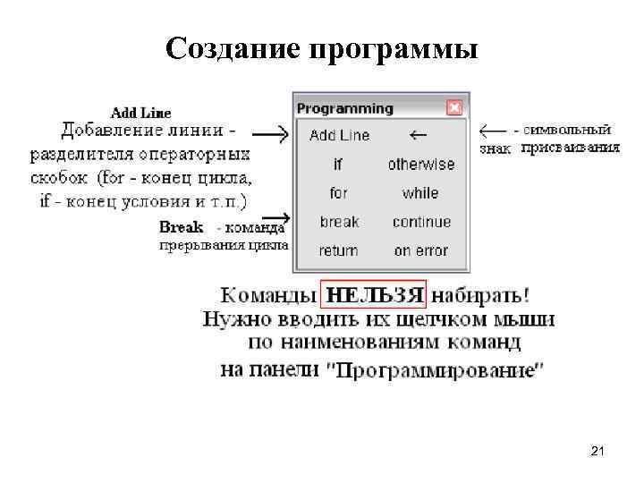 Создание программы     21
