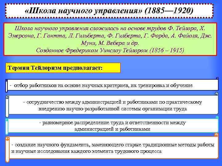 «Школа научного управления» (1885— 1920)  Школа научного управления сложилась на основе