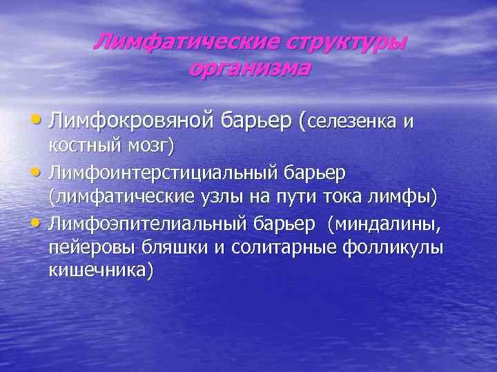 Лимфатические структуры    организма  • Лимфокровяной барьер (селезенка и