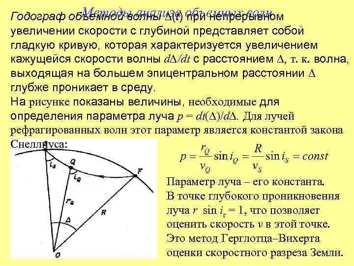 Годограф объемной волны ∆(t) объемных волн   Методы анализа при непрерывном увеличении скорости