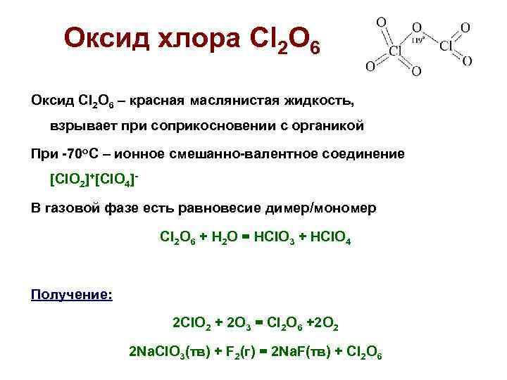 Оксид хлора Cl 2 O 6 Оксид Cl 2 O 6 –