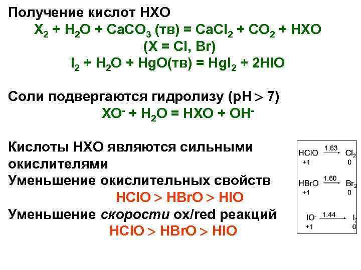 Получение кислот HXO  X 2 + H 2 O + Ca. CO 3
