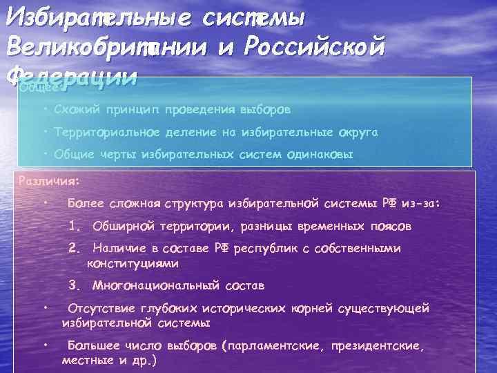 Избирательные системы Великобритании и Российской Федерации Общее: • Схожий принцип проведения выборов • Территориальное