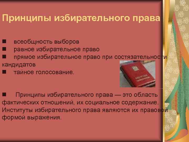Принципы избирательного права  всеобщность выборов  равное избирательное право  прямое избирательное право