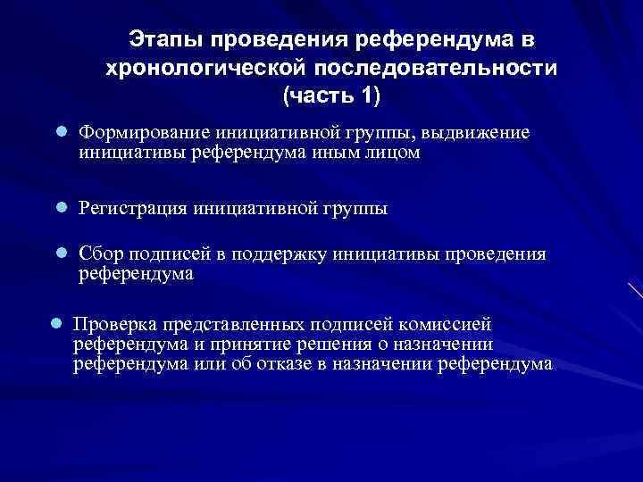 Этапы проведения референдума в хронологической последовательности    (часть 1) l
