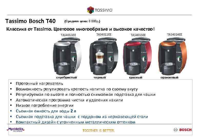 Tassimo Bosch T 40   (Средняя цена: 6 000 р. ) Классика от